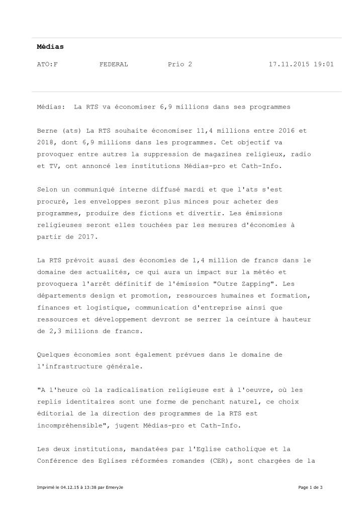 2015-11-17 La RTS va économiser 6_9 millions dans ses programmes (ATS)