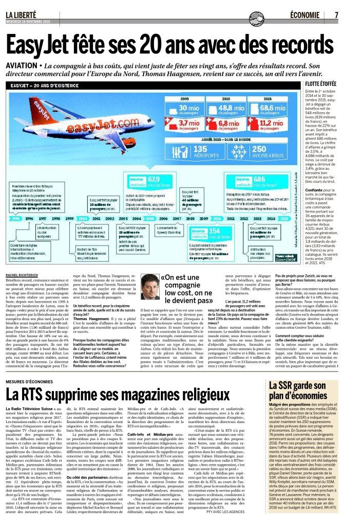 2015-11-18 La RTS supprime ses magazines religieux (La Liberté)