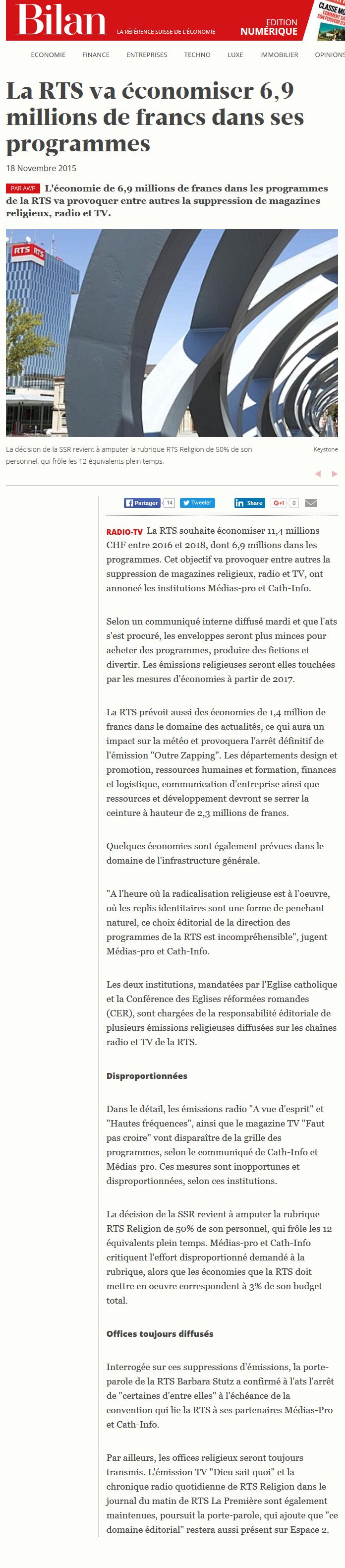 2015-11-18 La RTS va economiser 6,9 millions de francs dans ses programmes (Bilan)