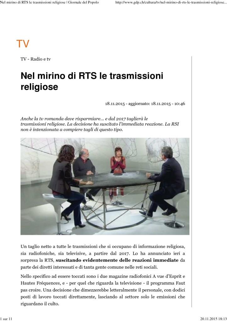 2015-11-18 Nel mirino di RTS le trasmissioni religiose (Giornale del Popolo)