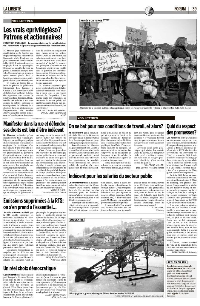 2015-11-19 Courrier de lecteur J Schouwey (La Liberté)