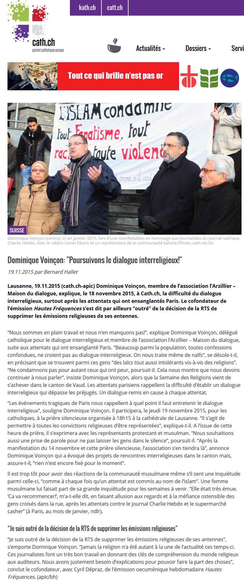 2015-11-19 Dominique Voinçon - Poursuivons le dialogue interreligieux (cath.ch)