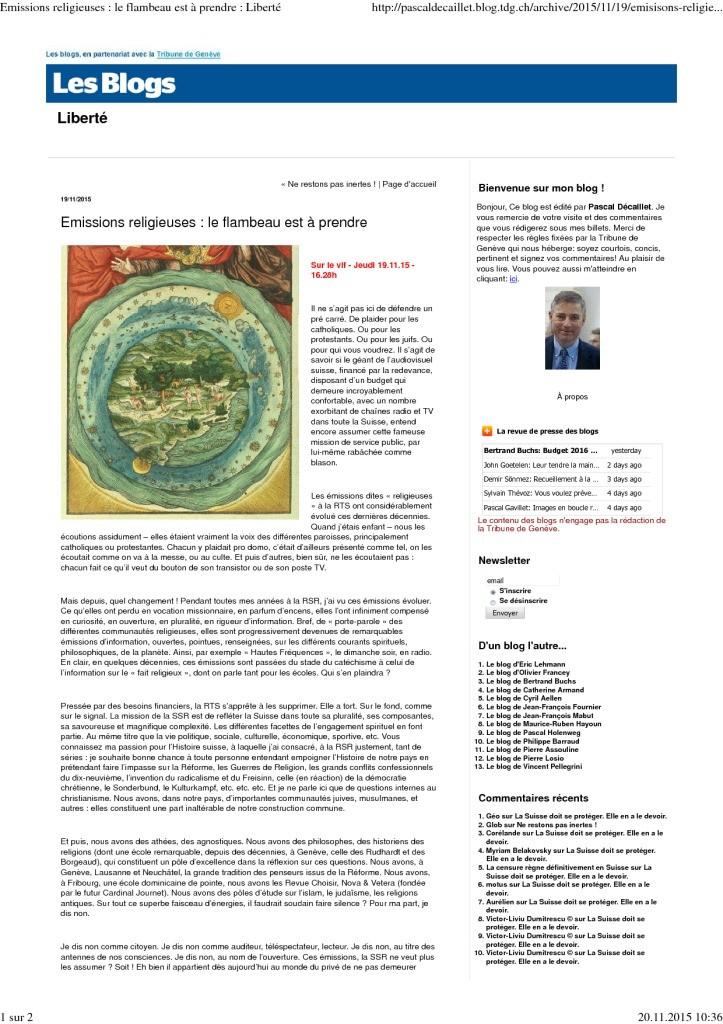 2015-11-19 Emissions religieuses – le flambeau est à prendre (blog de Pascal Décaillet)