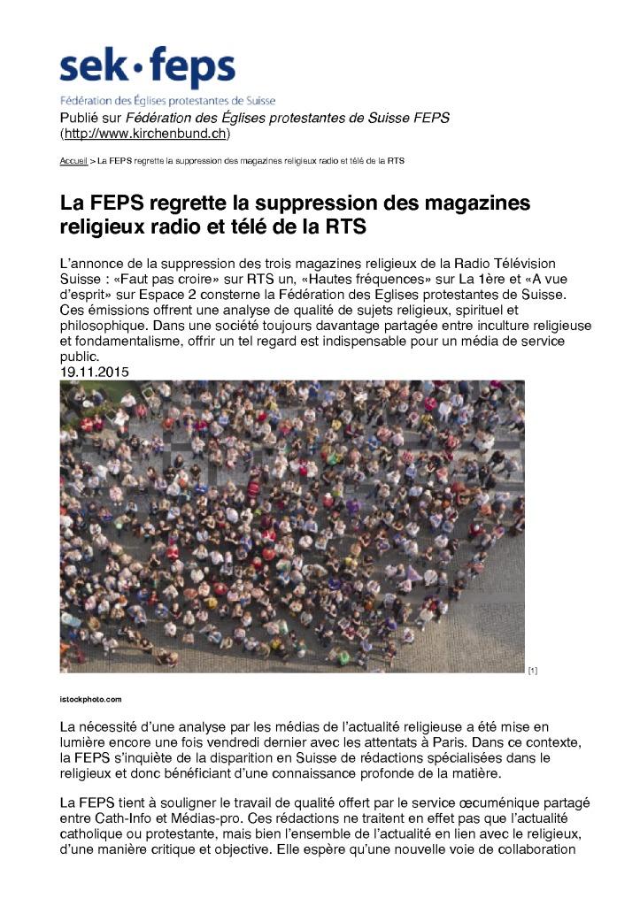 2015-11-19 La FEPS regrette la suppression des magazines religieux radio et télé de la RTS