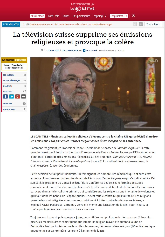 2015-11-19 La télévision suisse supprime ses émissions religieuses et provoque la colère (TVmag öe Figaro)