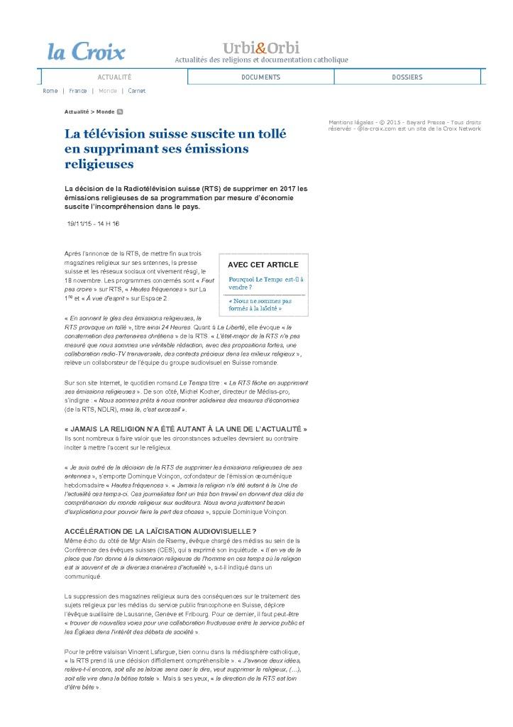 2015-11-19 La télévision suisse suscite un tollé en supprimant ses émissions religieuses (La Croix)
