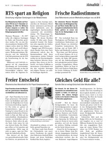2015-11-20 RTS spart an Religion (Reformierte Presse)