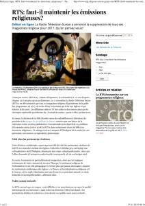 2015-11-23 Faut-il maintenir les émissions religieuses (Tribune de Genève)