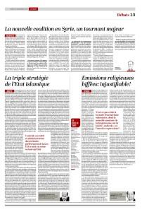 2015-11-24 Emissions religieuses biffées injustifiable!, par FX Amherdt (Le Temps)