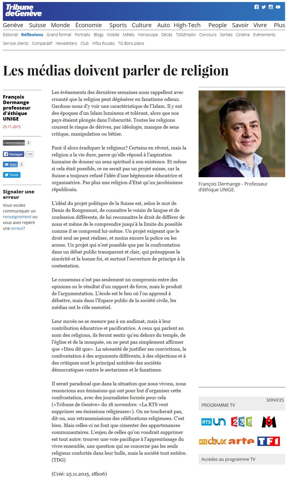 2015-11-25 F Dermange - les médias doivent parler religion (Tribune de Genève)