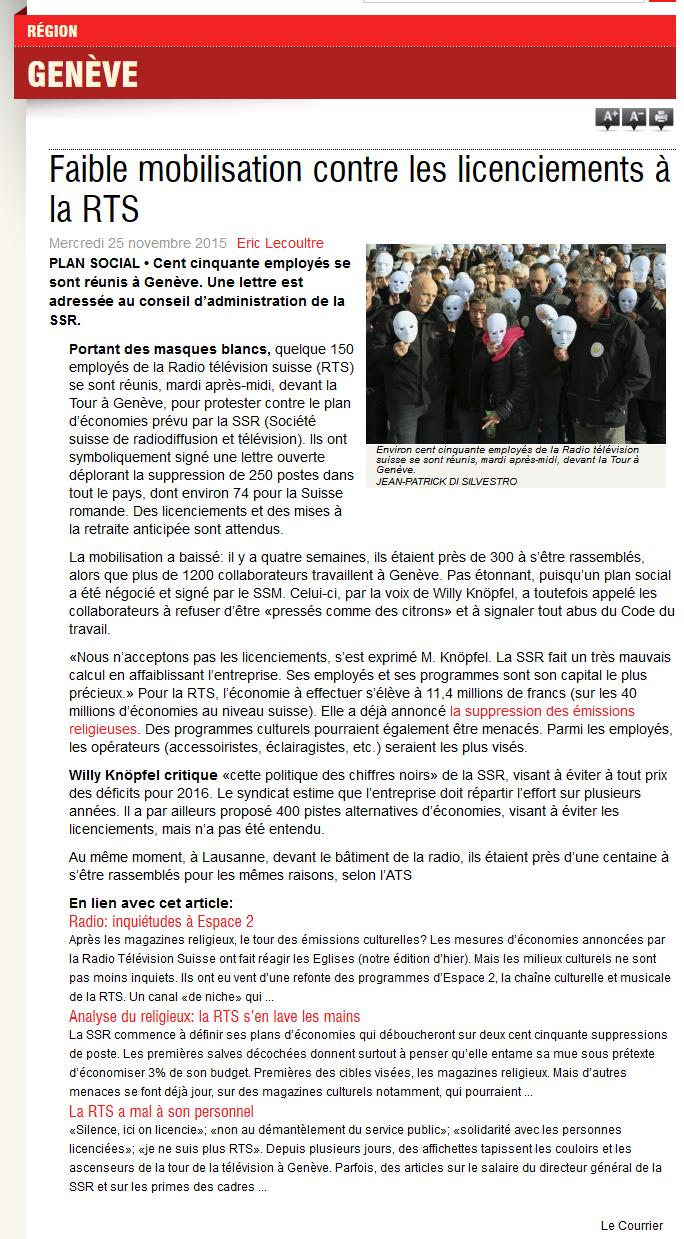 2015-11-25 Faible mobilisation contre les licenciements à la RTS (Le Courrier)