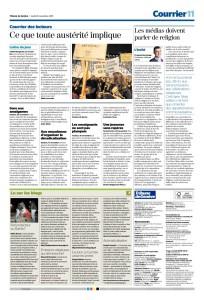 2015-11-26 Les médias doivent parler de religion, par F Dermange (Tribune de Genève)