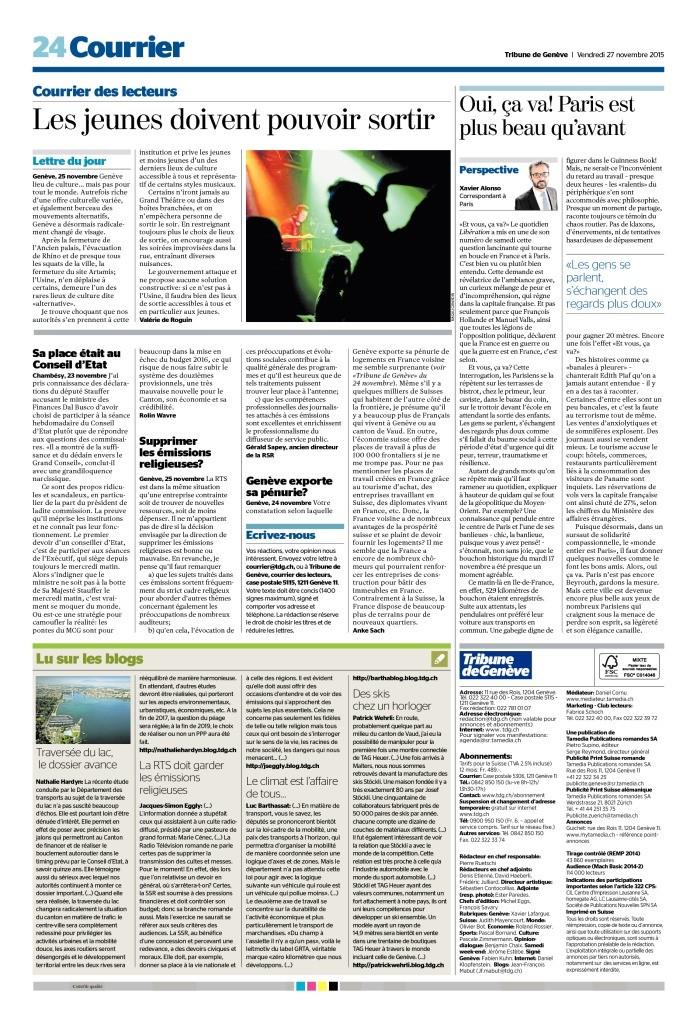 2015-11-27 La RTS doit garder les émissions religieuses, par JS Eggly (Tribune de Genève)