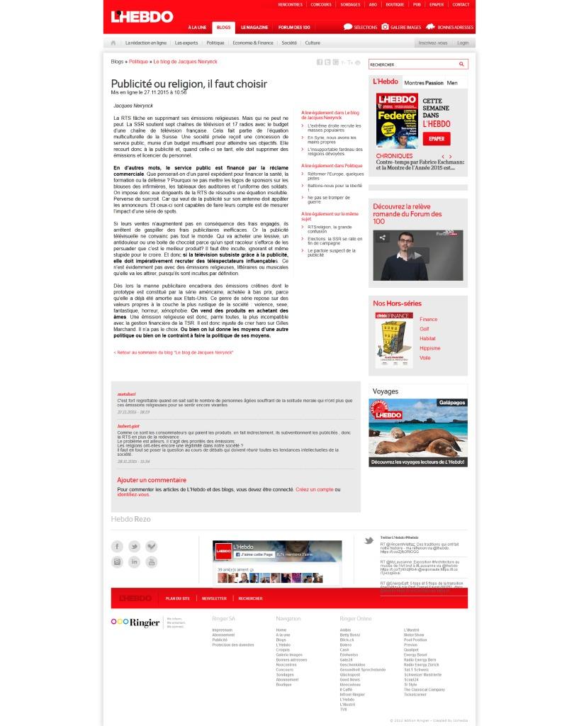 2015-11-27 Publicité ou religion, il faut choisir, par J Neirynck (L'Hebdo)