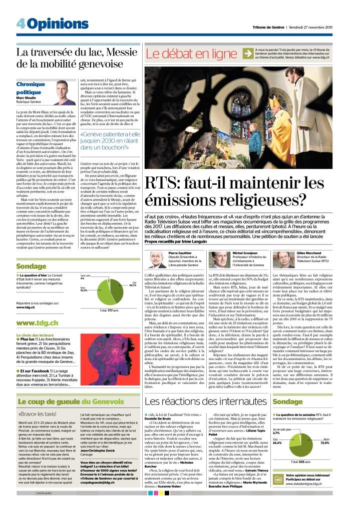 2015-11-27 RTS – faut-il maintenir les émissions religieuses (TdG)