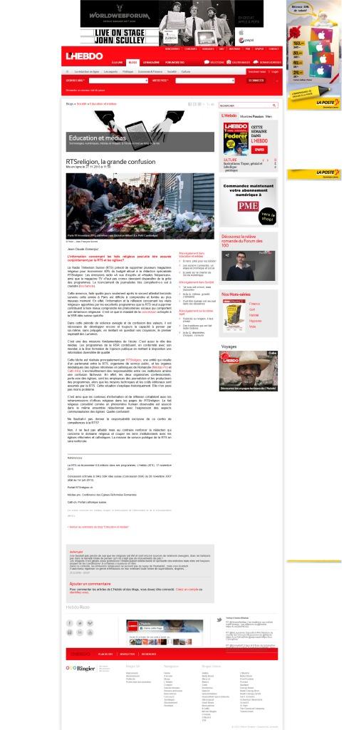 2015-11-27 RTSreligion, la grande confusion, par JC Domenjoz (L'Hebdo)