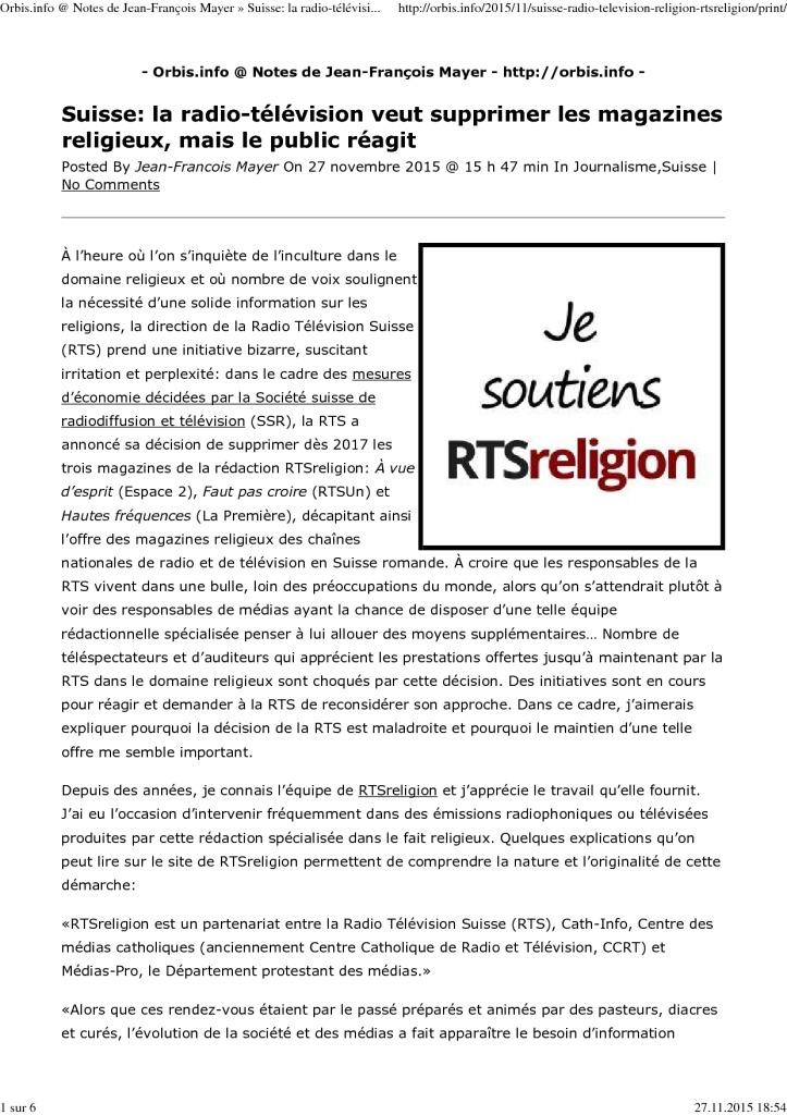2015-11-27 Suisse - La radio-télévision veut supprimer les magazines religieux, mais le public réagit, JF Mayer (Orbis.info)
