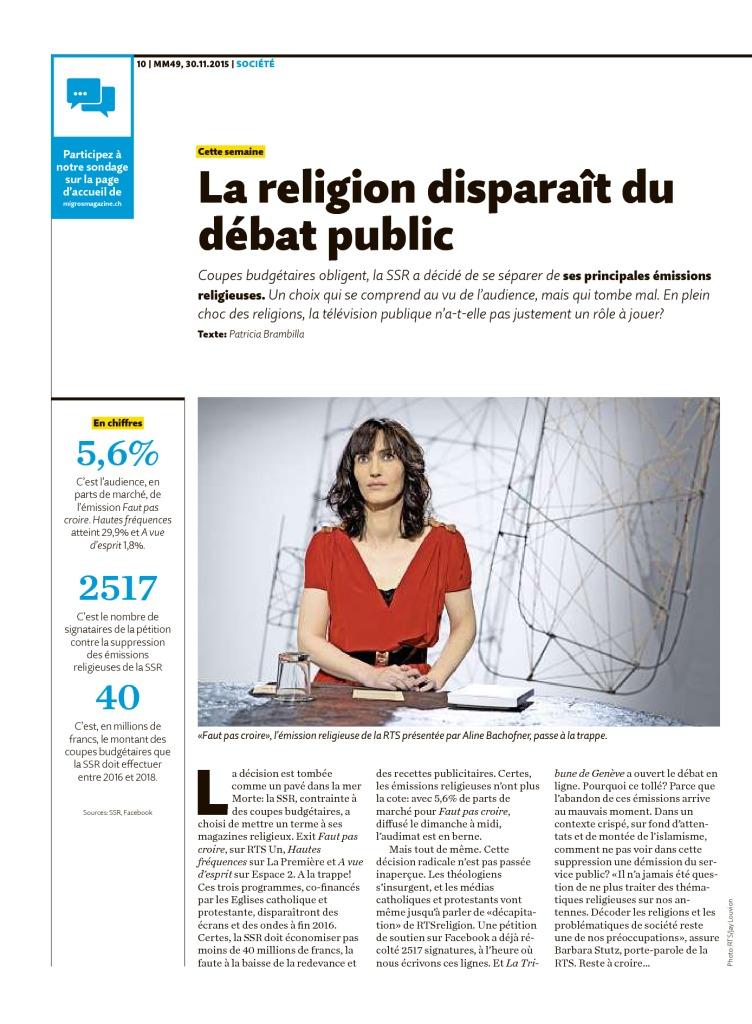 2015-11-30 La religion disparaît du débat public (Migros Magazine)