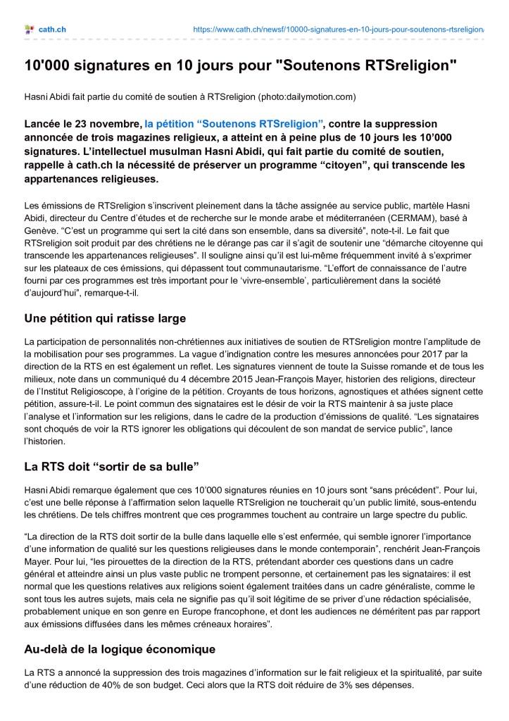 2015-12-04 10000 signatures en 10 jours pour Soutenons RTSreligion (cath.ch)