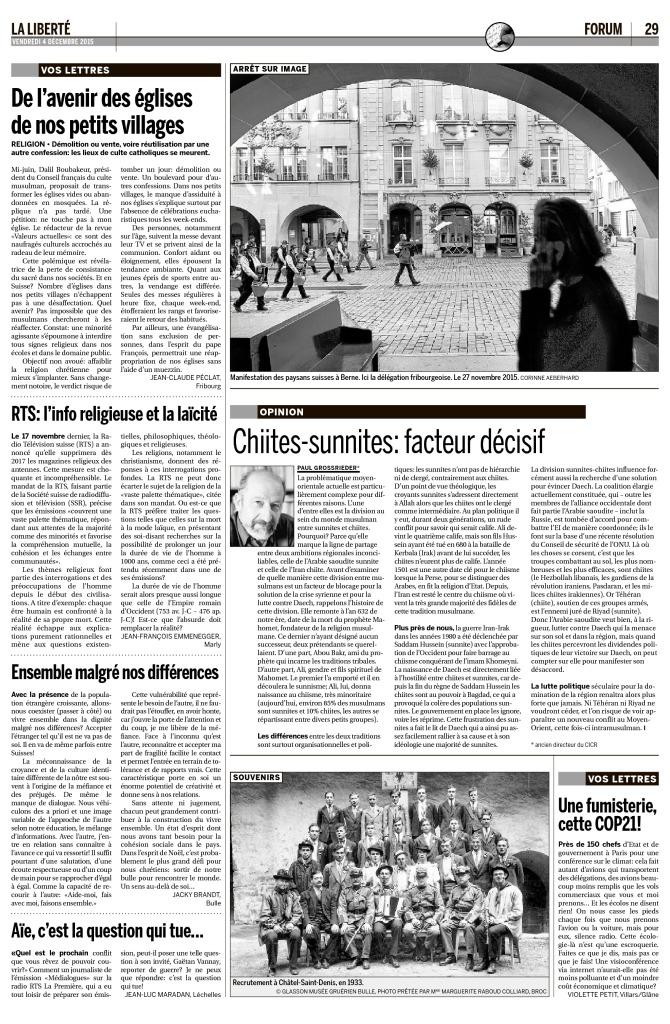 2015-12-04 RTS l'info religieuse et la laïcité, par JF Emmenegger (La Liberté)