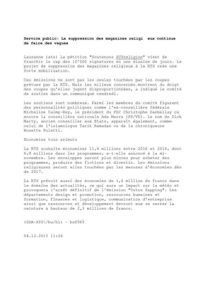 2015-12-04 Service public – La suppression des magazines religieux continue de faire des vagues (ATS)