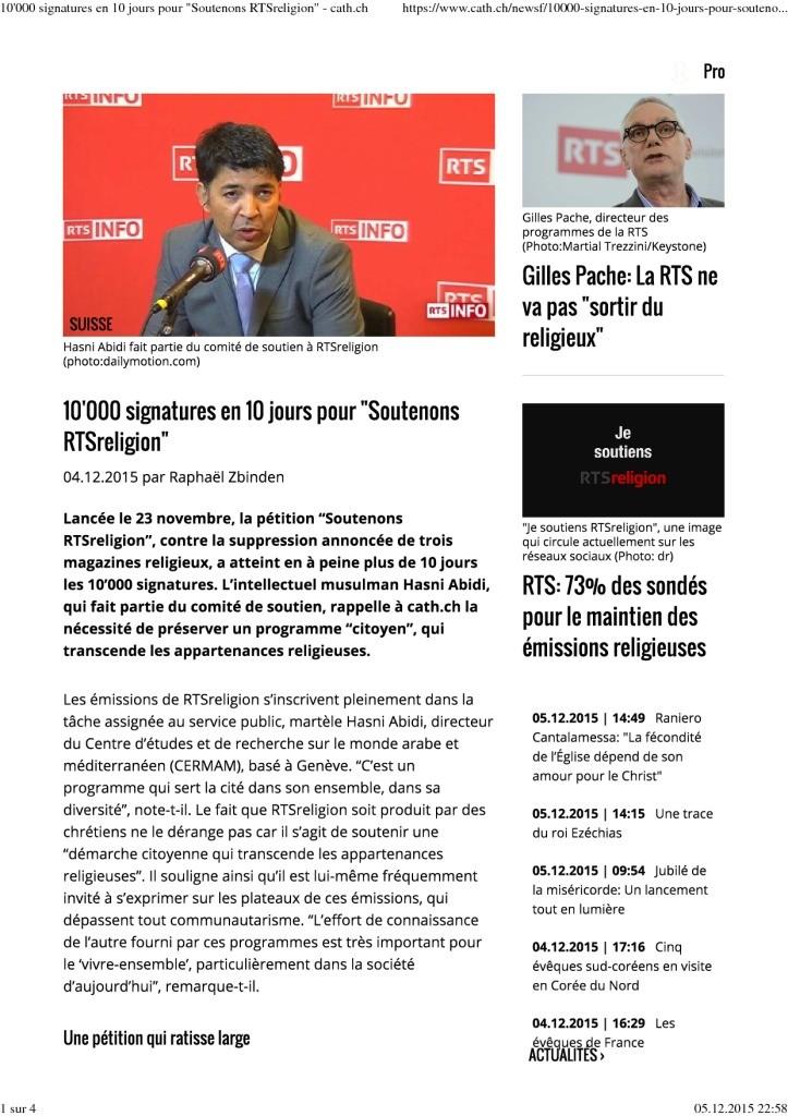 2015-12-05 10'000 signatures en 10 jours pour _Soutenons RTSreligion_ – cath.ch