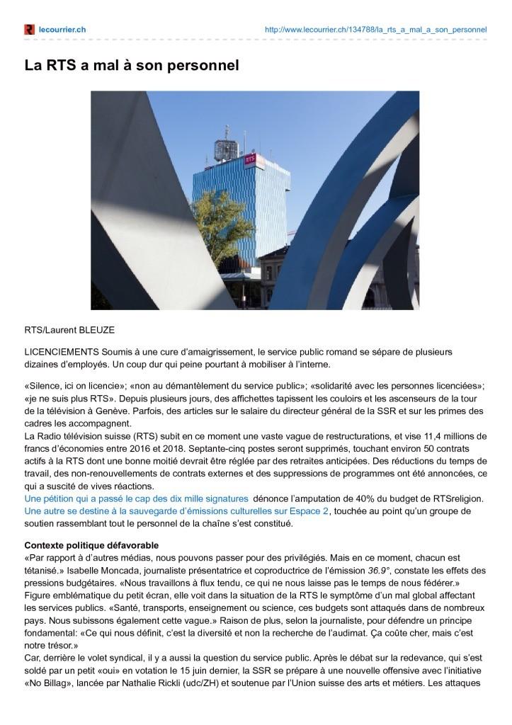2015-12-08 La RTS a mal à son personnel (Le Courrier)