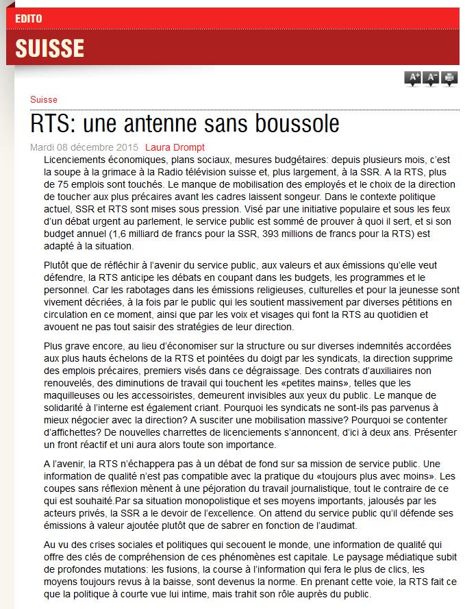 2015-12-08 RTS - une antenne sans boussole (Le Courrier)