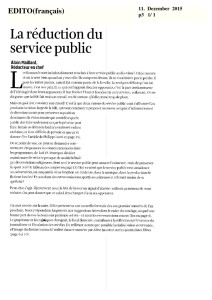 2015-12-11 La réduction du service public (Edito)