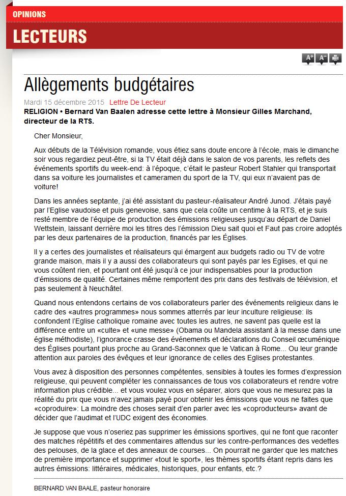 2015-12-15 Allégements budgetaires (Le Courrier)