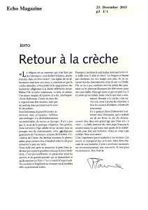 2015-12-23 Retour à la crèche (Echo Magazine)