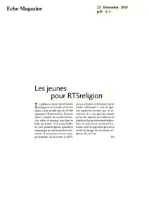 2015-12-23 Les jeunes pour RTSreligion (Echo Magazine)