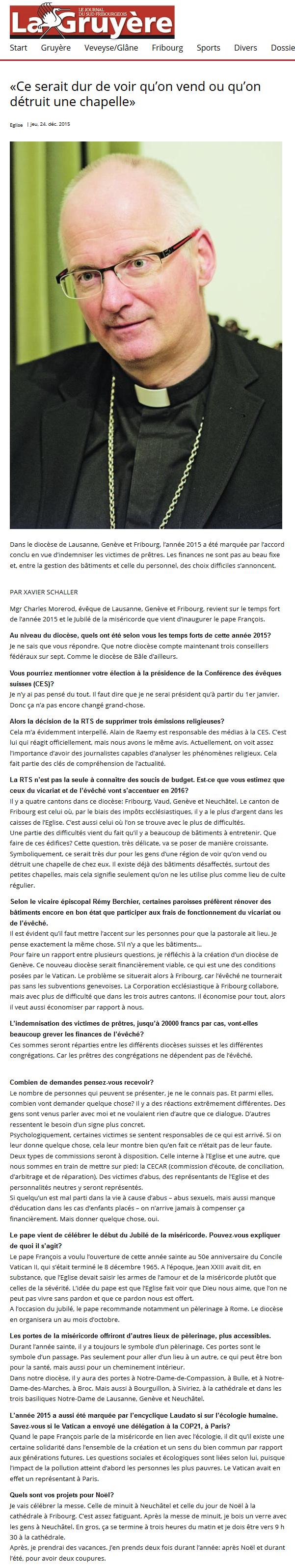 2015-12-24 Interview Mgr C Morerod (La Gruyère)