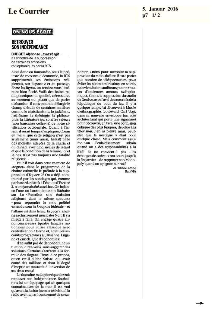 2016-01-05 Retrouver son indépendance, par A Layaz (Le Courrier)