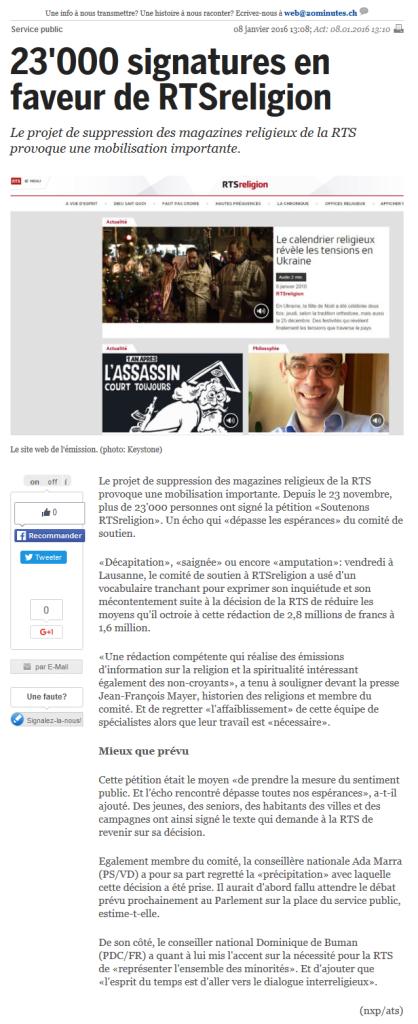 2016-01-08 23'000 signatures en faveur de RTSreligion (20 minutes)