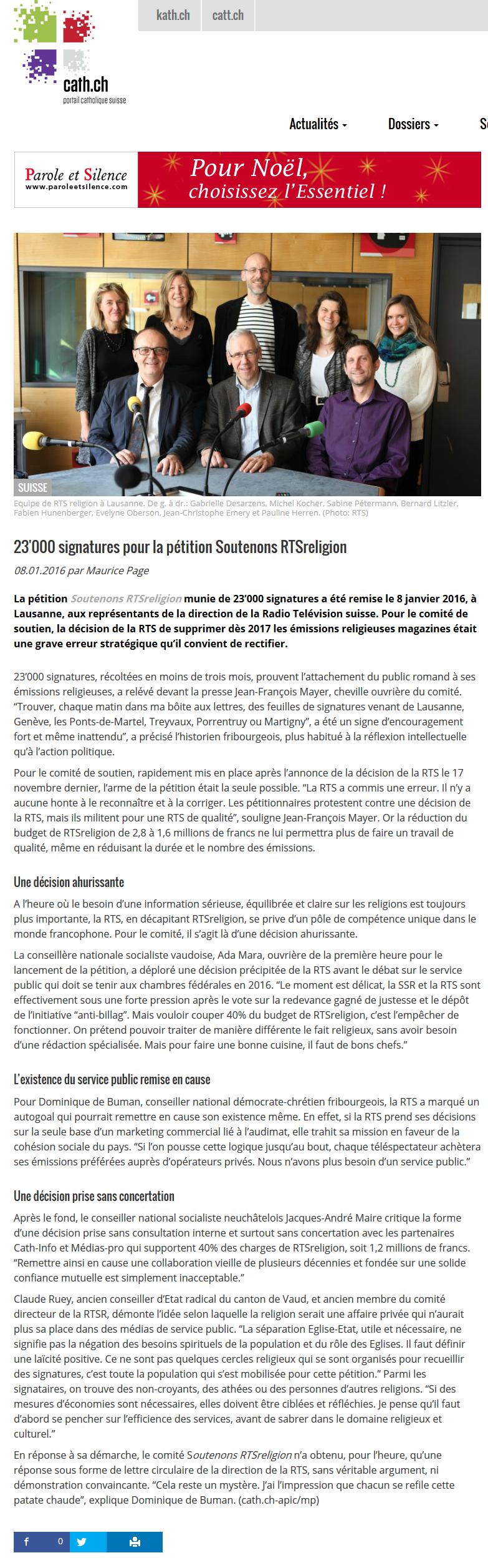 2016-01-08 23000 signatures pour la pétition Soutenons RTSreligion