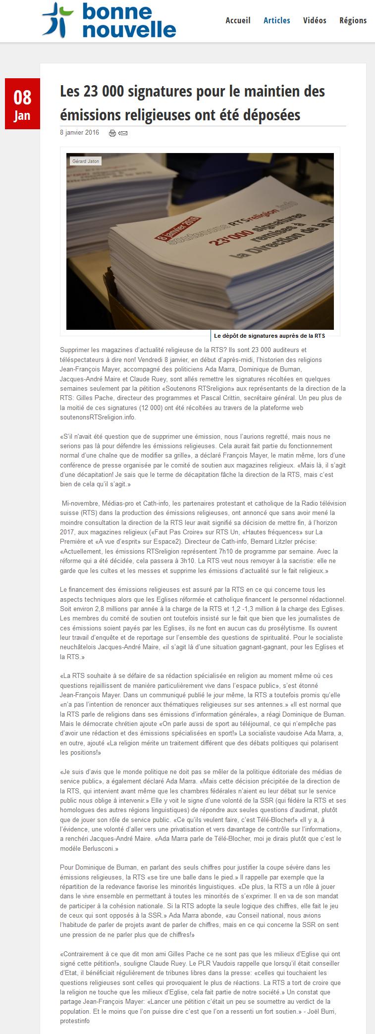 2016-01-08 Les 23 000 signatures pour le maintien des emissions religieuses ont ete deposees (Bonne nouvelle)