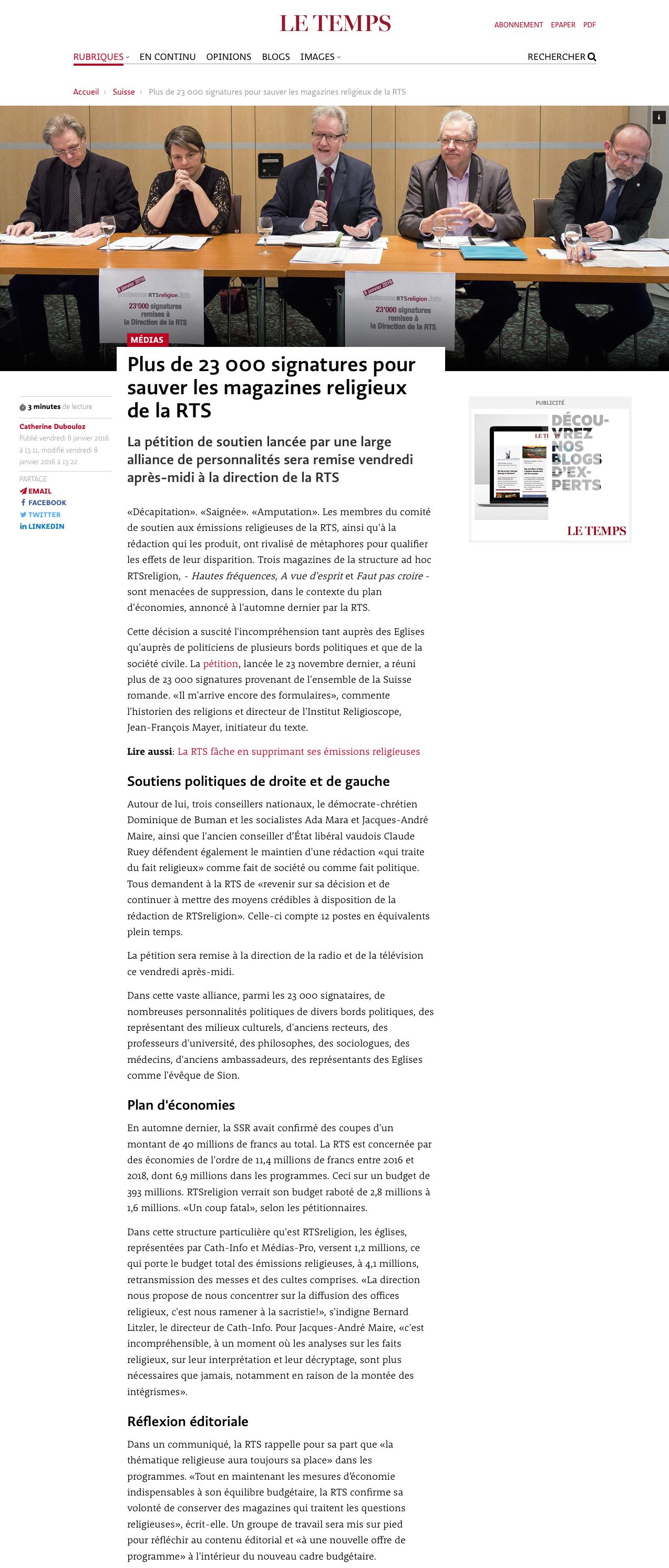 2016-01-08 Plus de 23000 signatures pour sauver les magazines religieux de la RTS (letemps.ch)