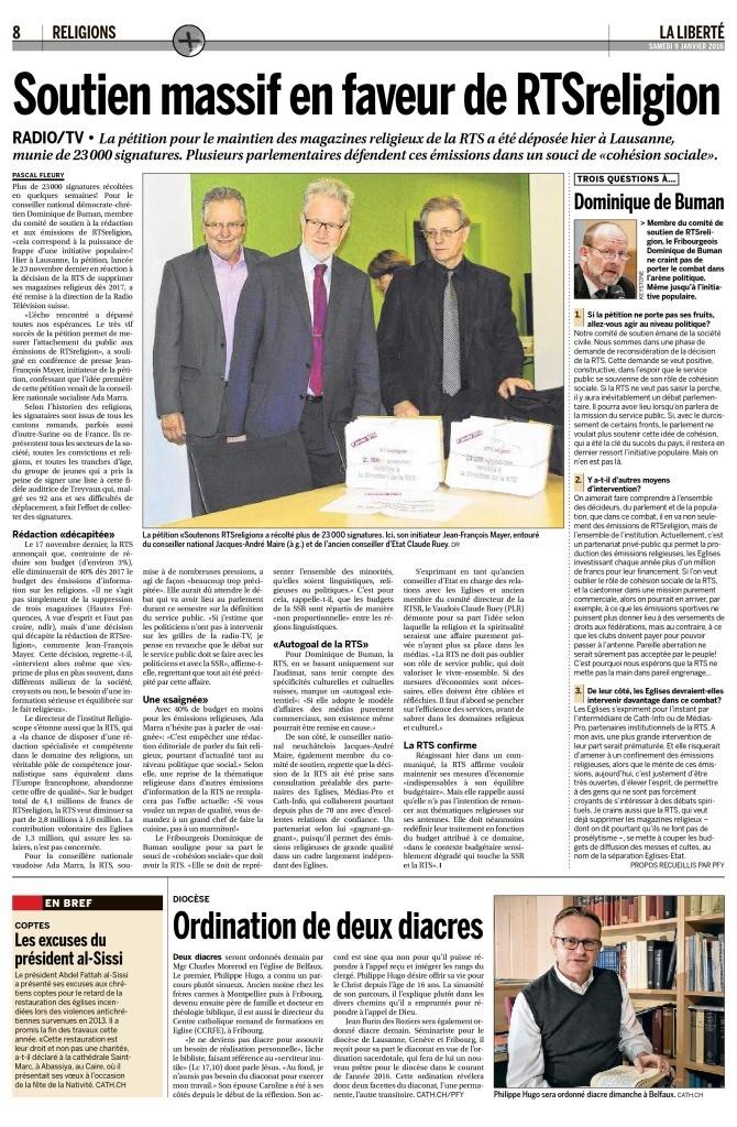 2016-01-09 Soutien massif en faveur de RTSreligion (La Liberte)
