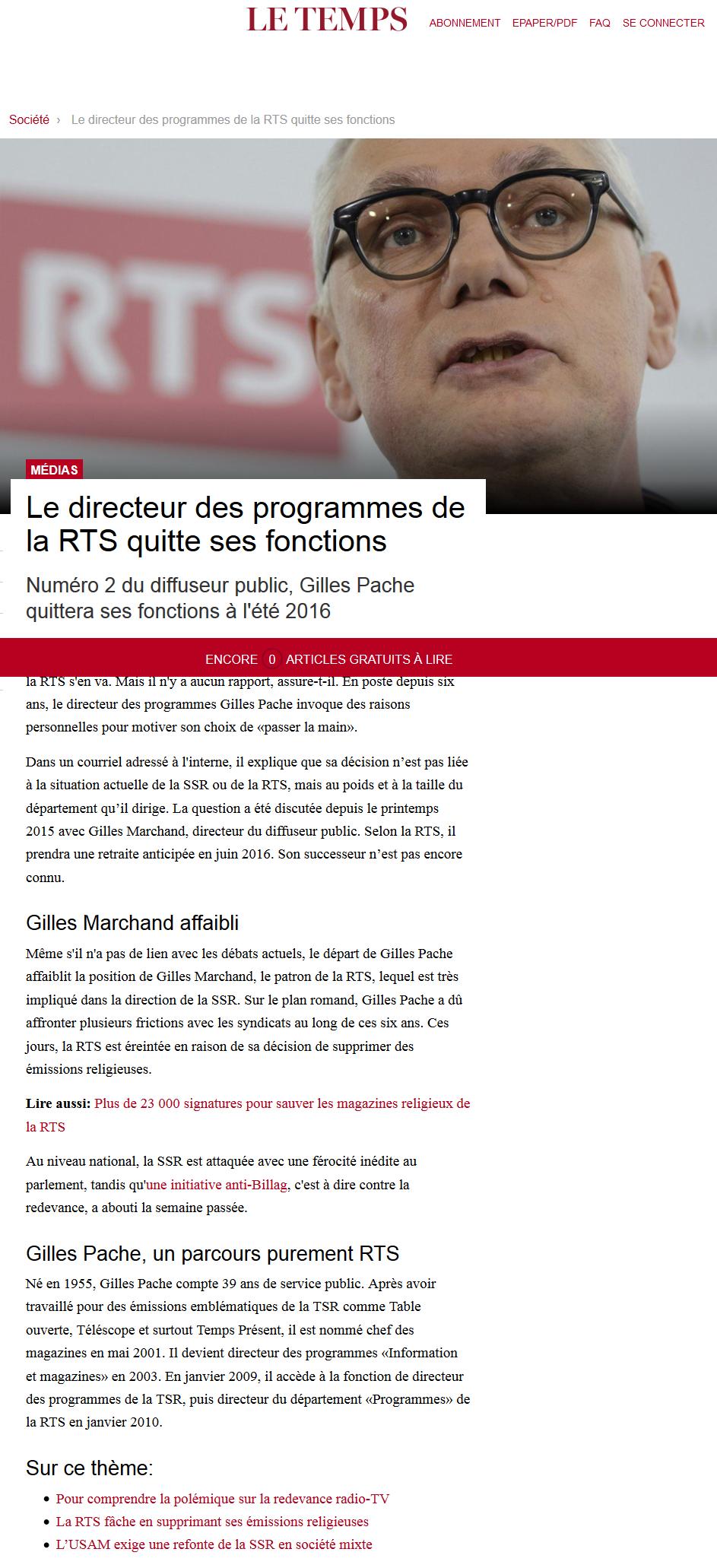2016-01-18 Le directeur des programmes de la RTS quitte ses fonctions (Le Temps)