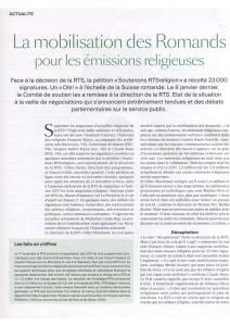 2016-02-01 La mobilisation des Romands pour les émissions religieuses (La VP GE)
