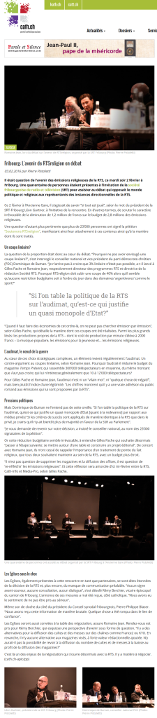 2016-02-03 Fribourg L'avenir de RTSreligion en debat (cath.ch)