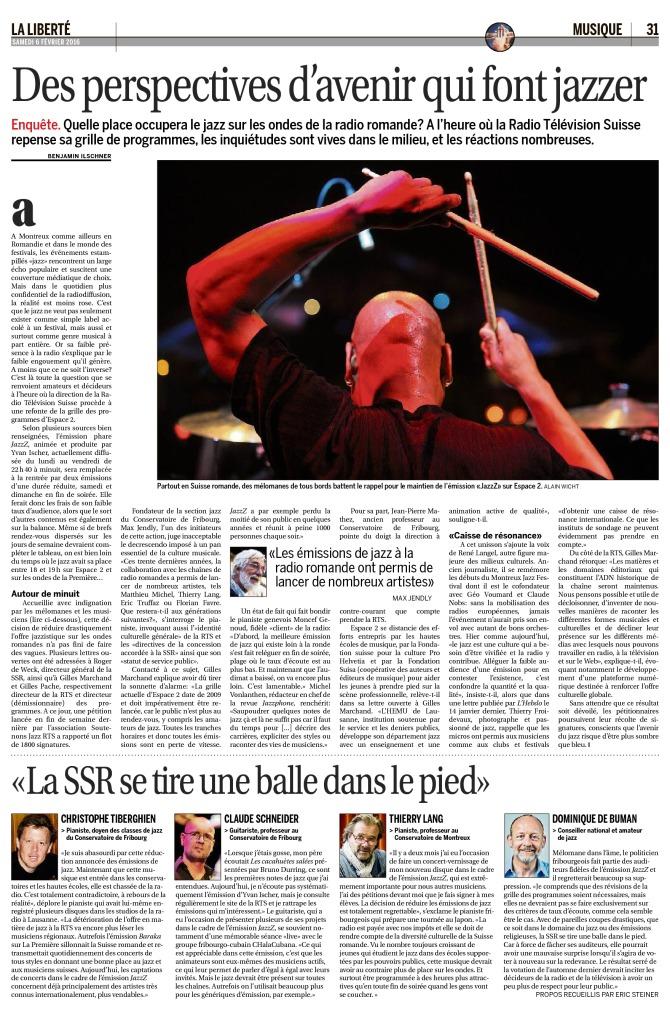 2016-02-06 Des perspectives d'avenir qui font jazzer (La Liberte)