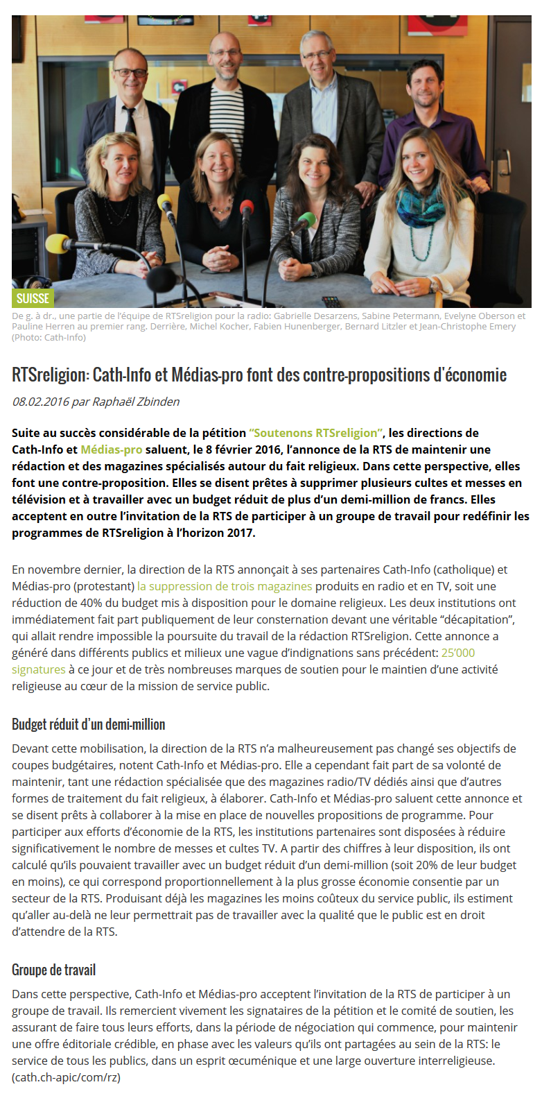 2016-02-08 RTSreligion_ Cath-Info et Médias-pro font des contre-propositions d'économie (cath.ch)