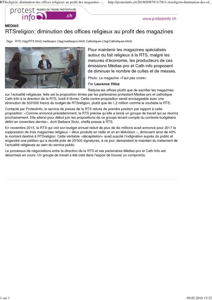 2016-02-08 RTSreligion_ diminution des offices religieux au profit des magazines (protestinfo)