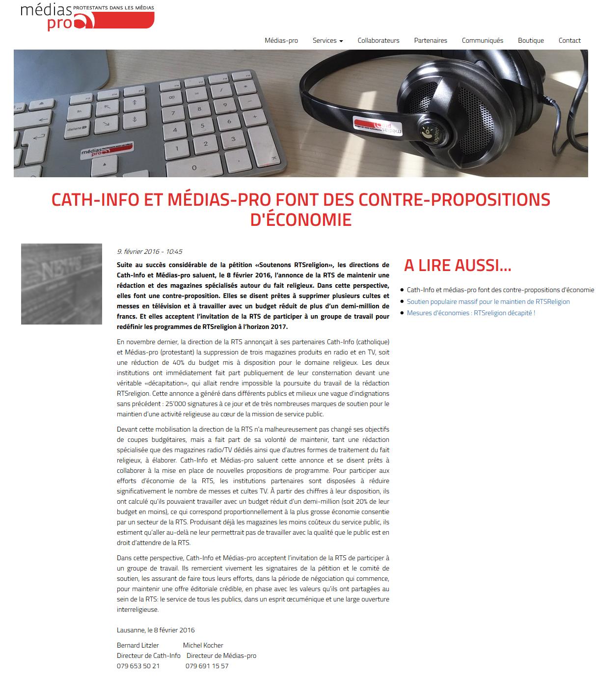 2016-02-09 Cath-Info et Medias-pro font des contre-propositions d'economie (Medias-pro)