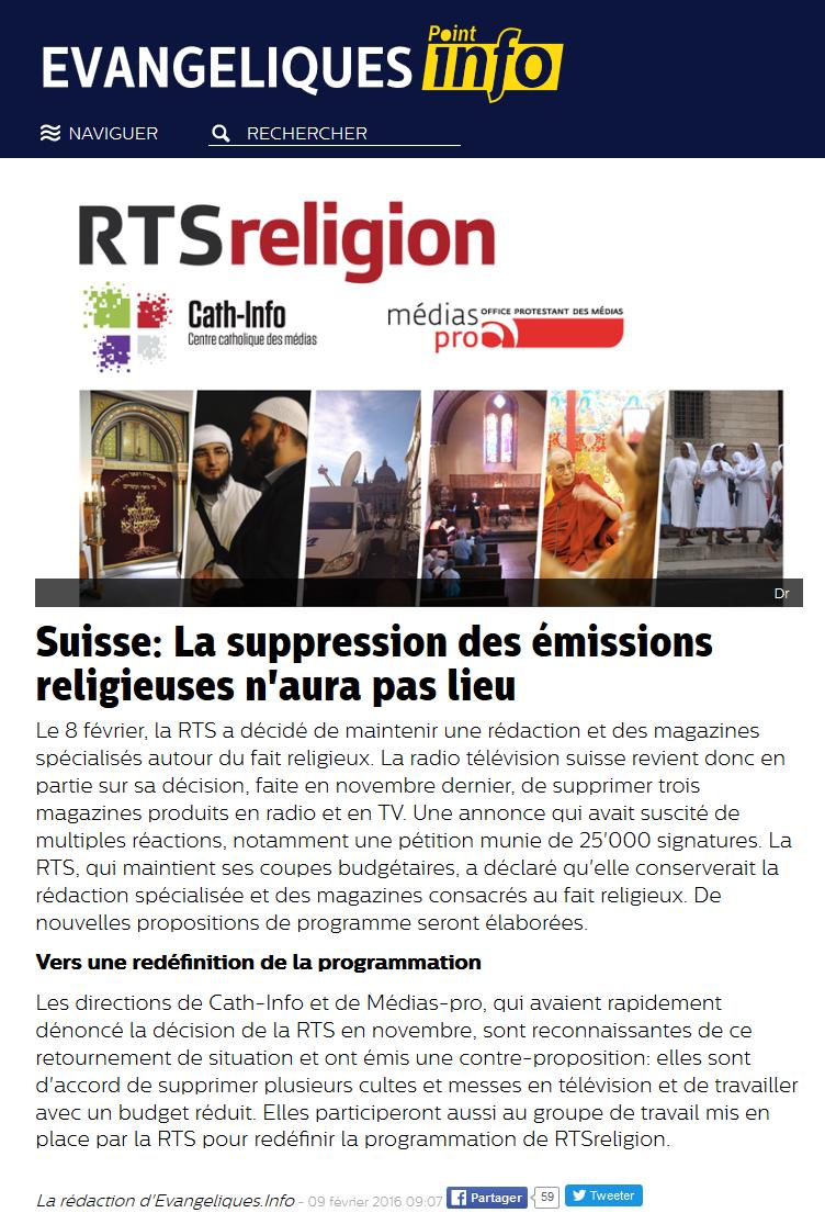 2016-02-09 La suppression des émissions religieuses n'aura pas lieu (L'Info évangelique)