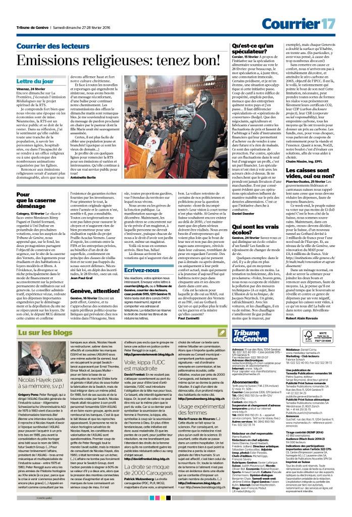 2016-02-27 Emissions religieuses – tenez bon (Tribune de Genève)
