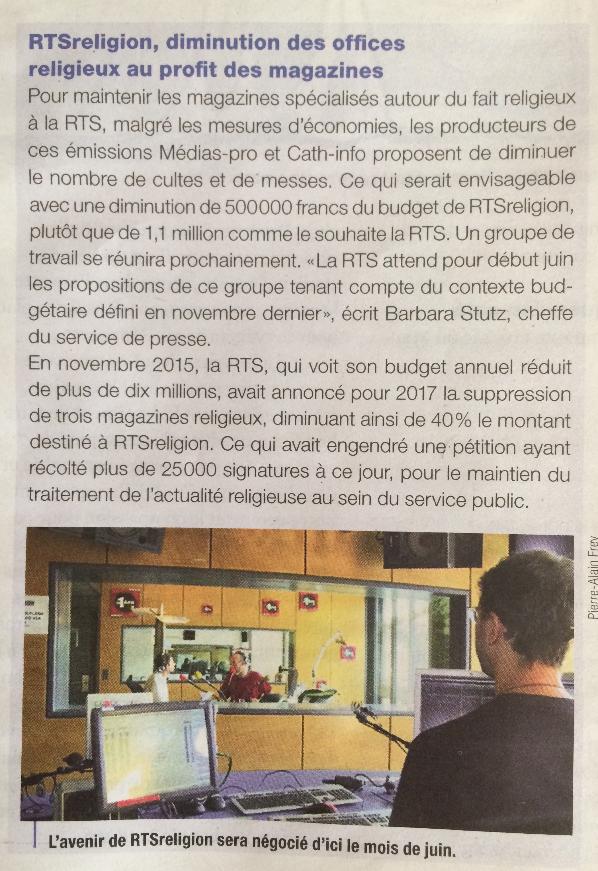 2016-02-28 RTSreligion, diminution des offices religieux au profit des magazines (Bonne nouvelle)