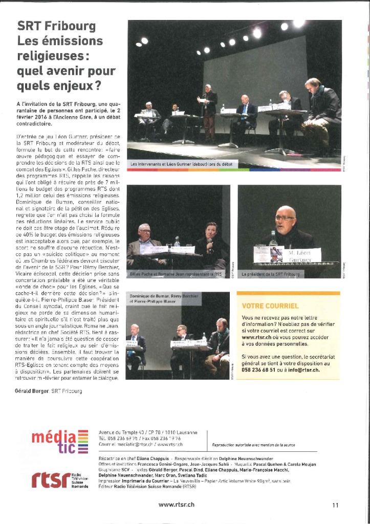 2016-02-29 SRT Fribourg – Les émissions religieuses, quel avenir pour quels enjeux (Médiatic)